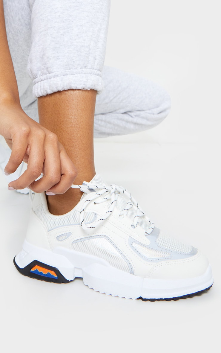 White Chunky Reflective Panelling Sneakers 1