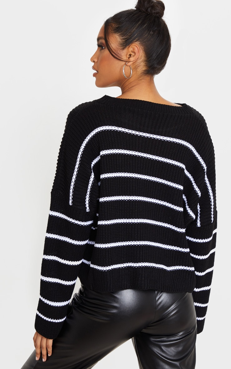 Black  Narrow Stripe Knitted Sweater 2