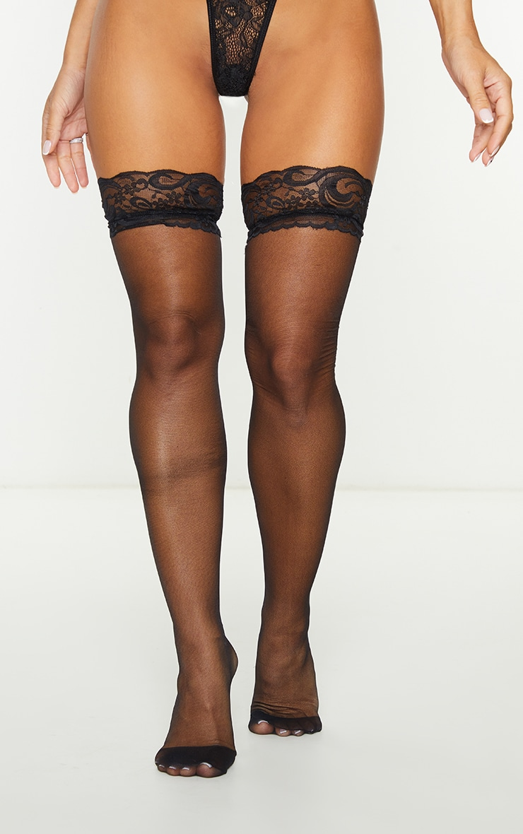 Black Lace Top Sheer Hold Up Stockings 1