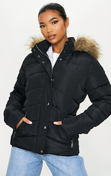 Black Quilted Mara Faux Fur Hooded Puffer Jacket 1