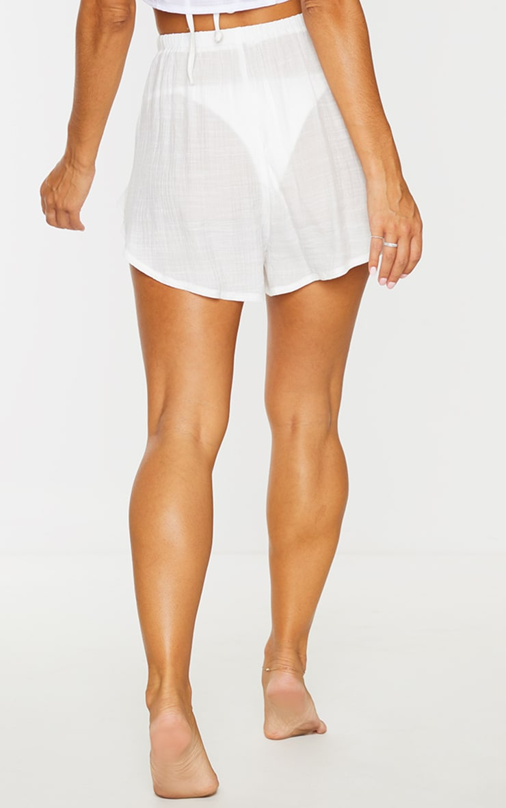 White Linen Look Side Split Beach Shorts 3