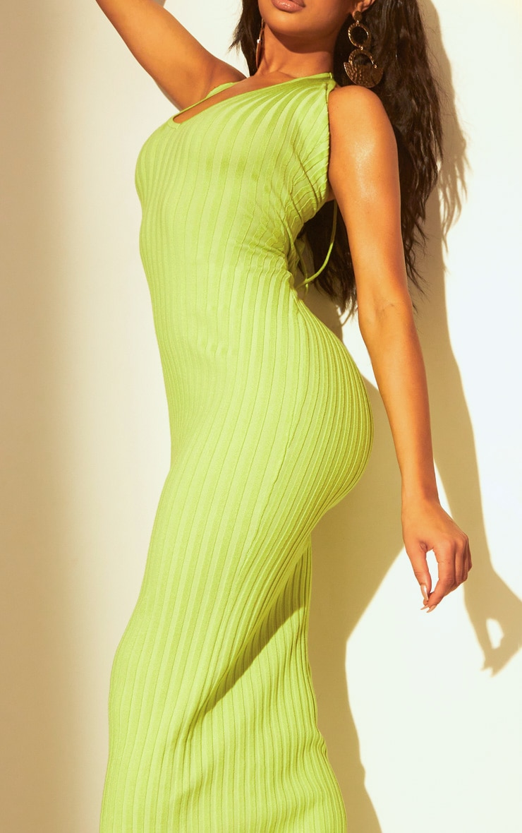 Lime Knitted Plunge Maxi Dress 5
