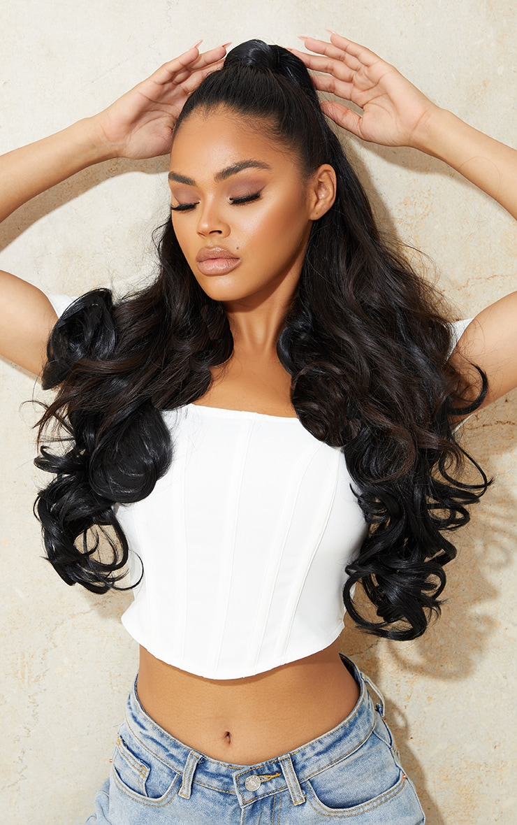 Lullabellz Ultimate Half Up Half Down 22 Curly Extension and Pony Set Natural Black 1