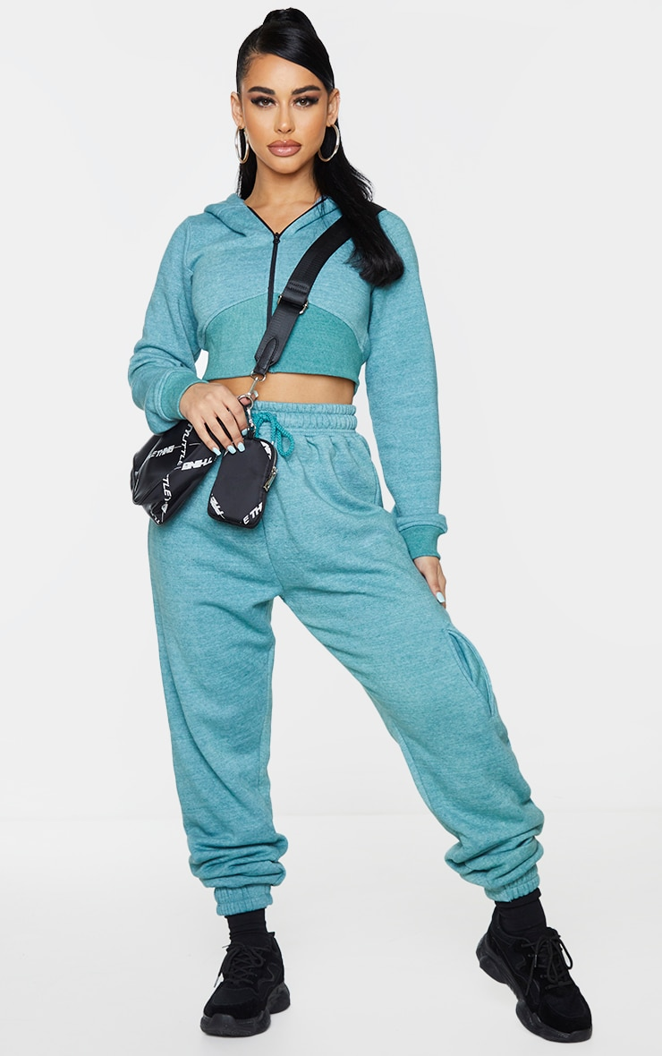 Shape Teal Washed Zip Rib Detail Cropped Hoodie 3