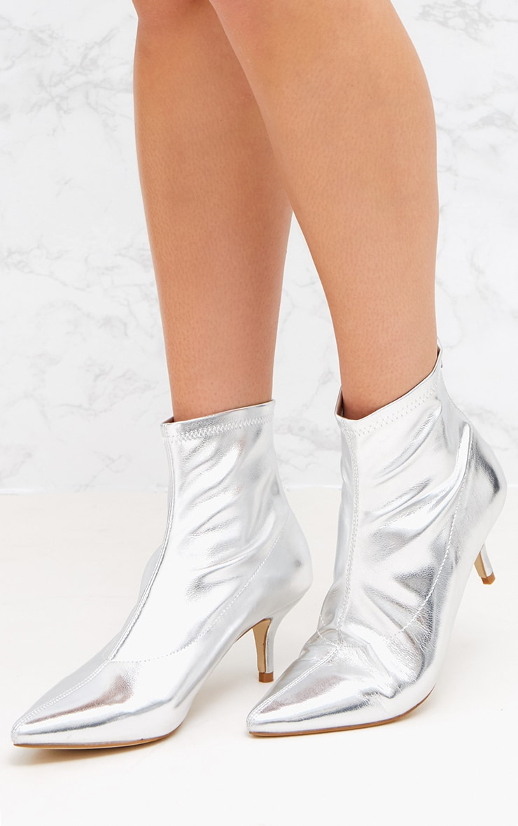 Silver PU Low Heeled Ankle Boots 2