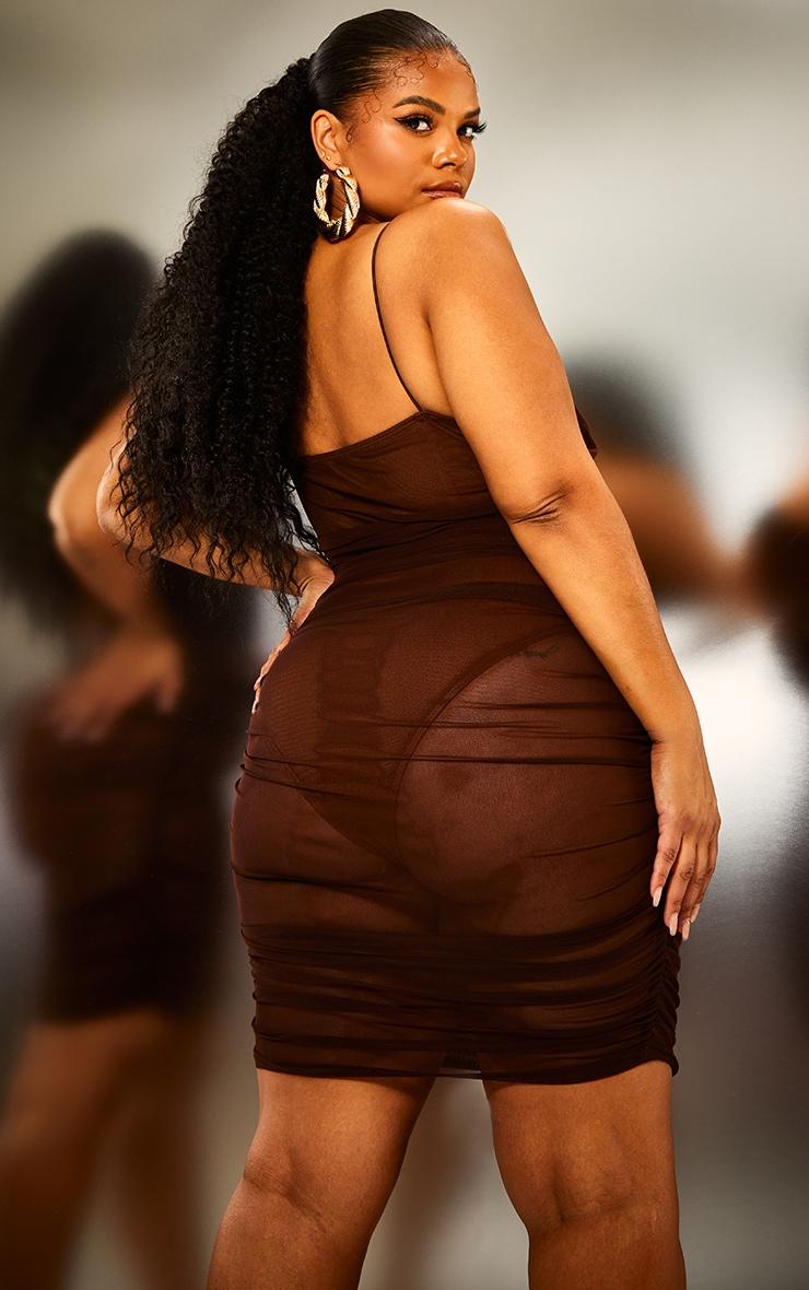 Plus Brown Ruched Mesh Underwire Bodycon Dress 2
