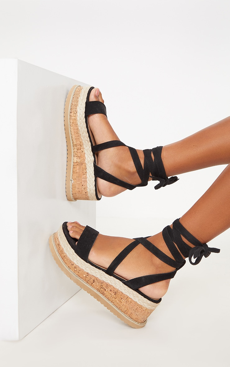 Niella Black Espadrille Flatform Sandals 2