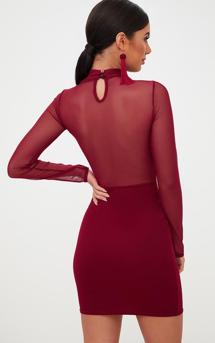 Burgundy Sheer Flocked Mesh Bodycon Dress 2