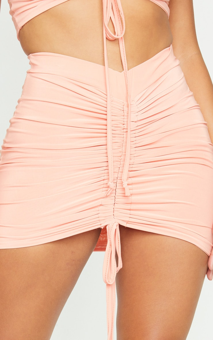 Shape Peach Slinky Ruched Front Bodycon Skirt 5