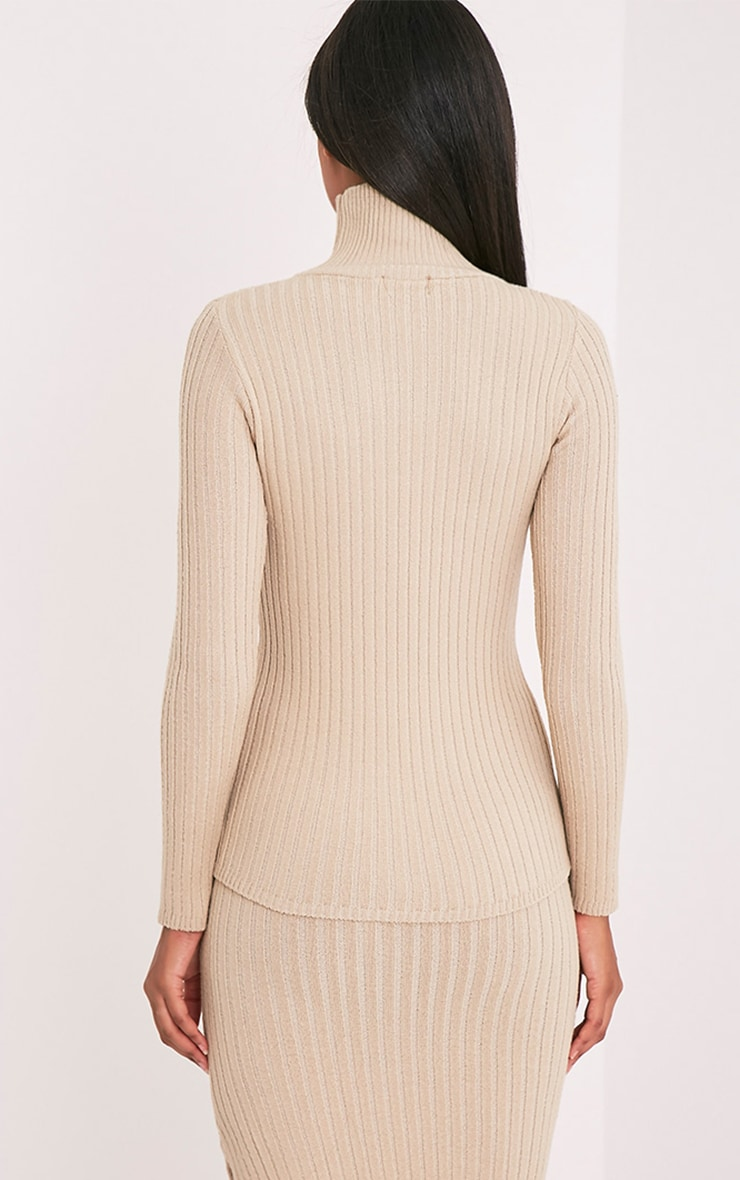 Ulanie Stone Turtle Neck Ribbed Knitted Jumper 2