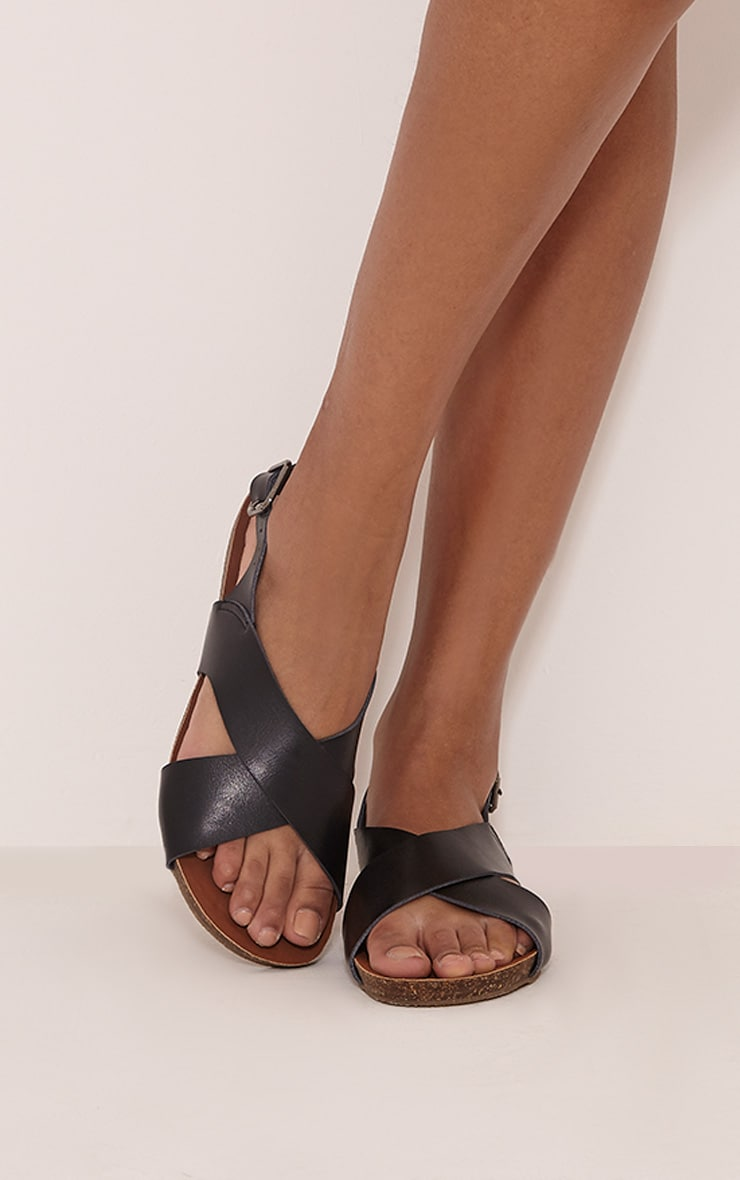 Nia Black Faux Leather Cross Over Sandals 1