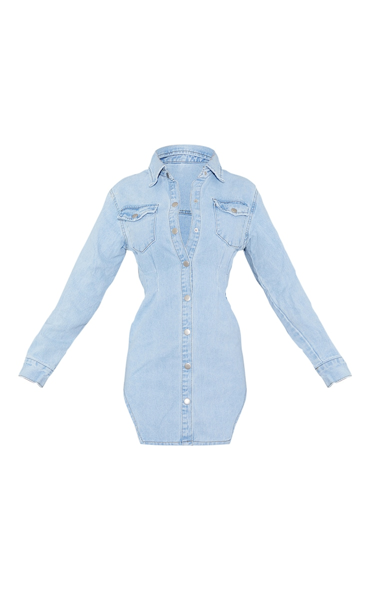 Light Blue Wash Cinched Waist Long Sleeve Denim Dress 5