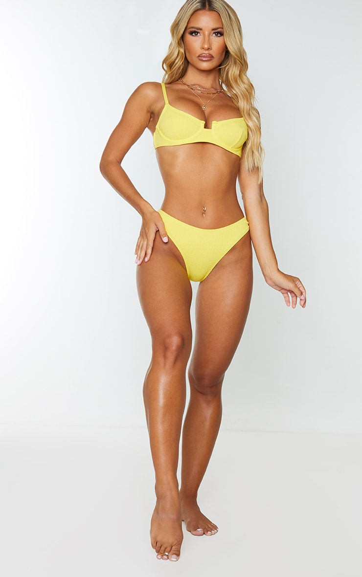 Yellow Underwired Crinkle Bikini Top 3
