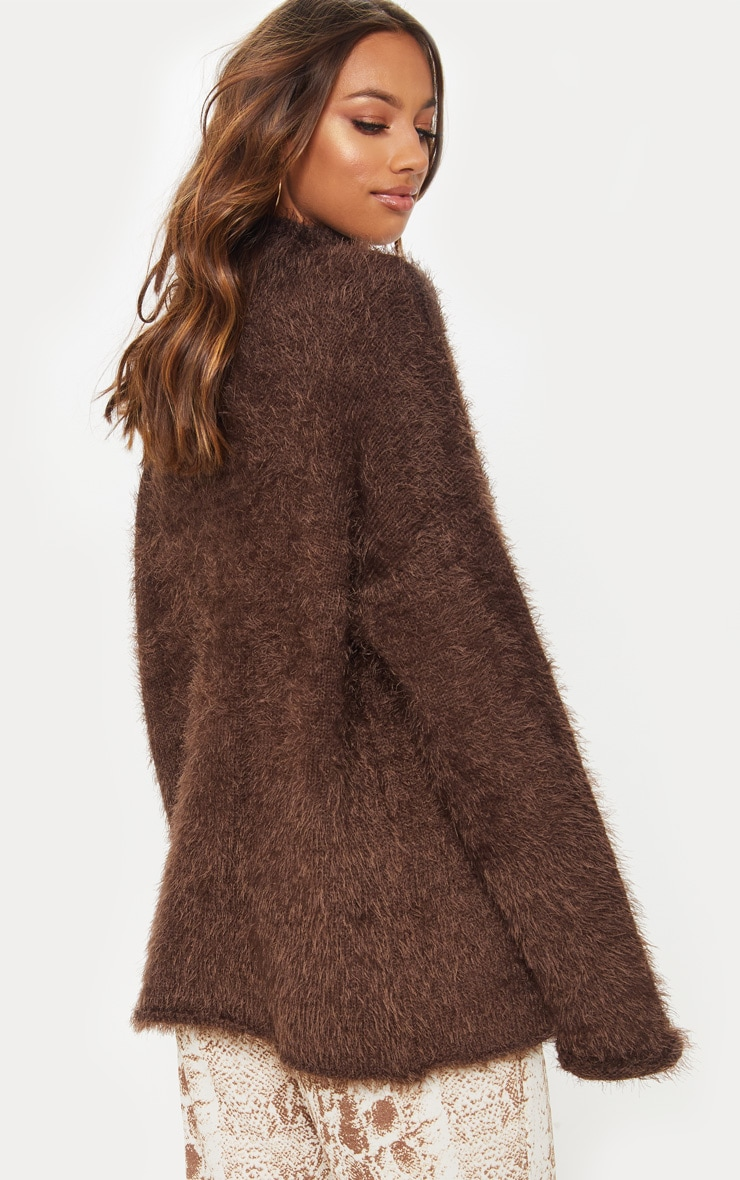 Brown Oversized Eyelash Sweater 2