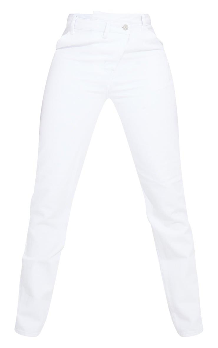 Tall White Asymmetric Waist Jeans 5