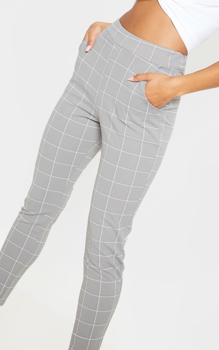 Grey Tweed Check Skinny Trousers 5