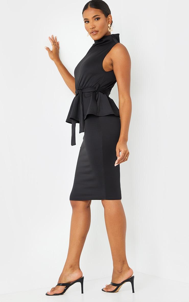 Black High Neck Tie Waist Peplum Midi Dress 3