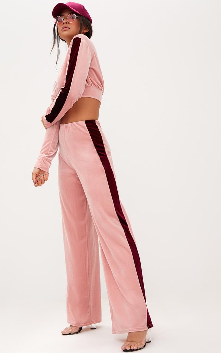 Pink Velvet Contrast Stripe Wide Leg Trousers 1
