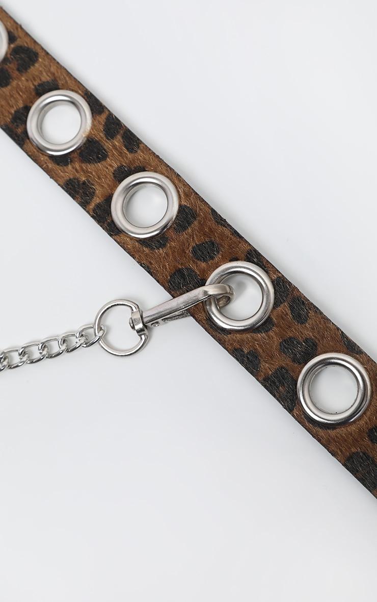 Brown Leopard Faux Pony Hair Eyelet Waist Belt 4