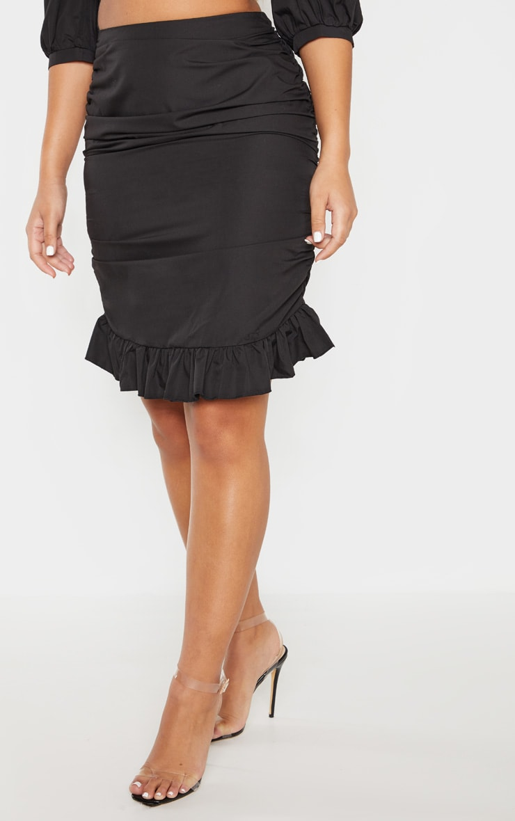 Black Ruched Detail Frill Hem Skirt 2