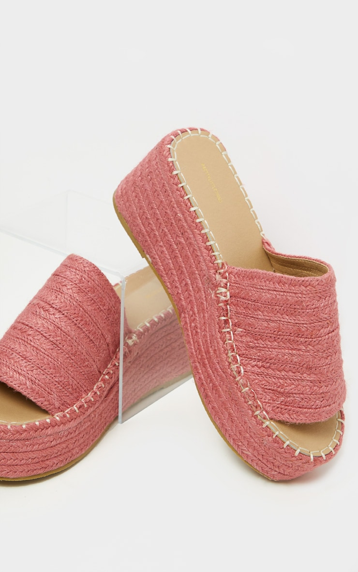 Dusty Peach Espadrille Mule Flatform Sandal 4
