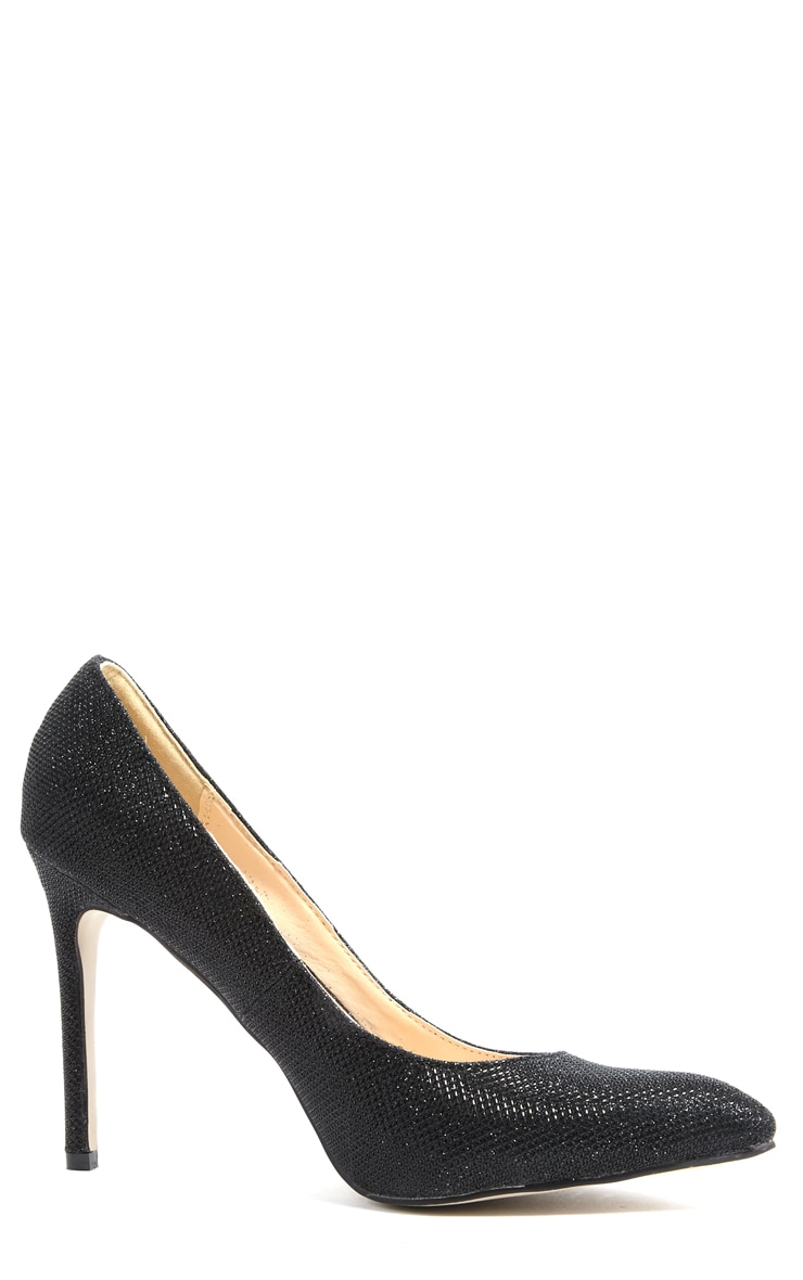 Susie Black Pointed Strap Court Shoes  3