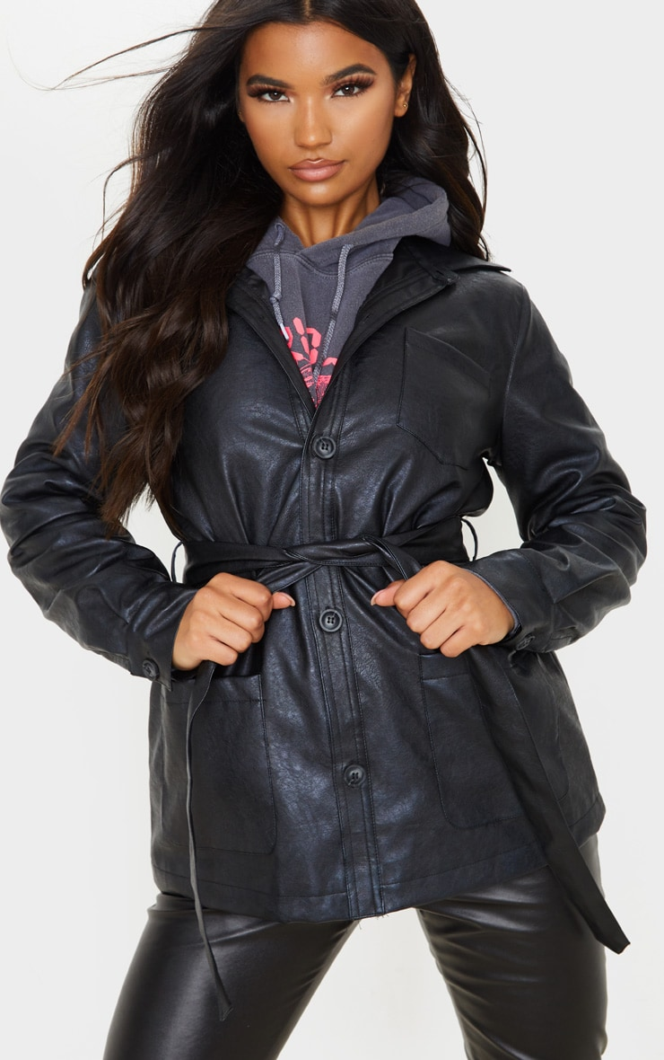 Black PU Oversized Belted Jacket 5