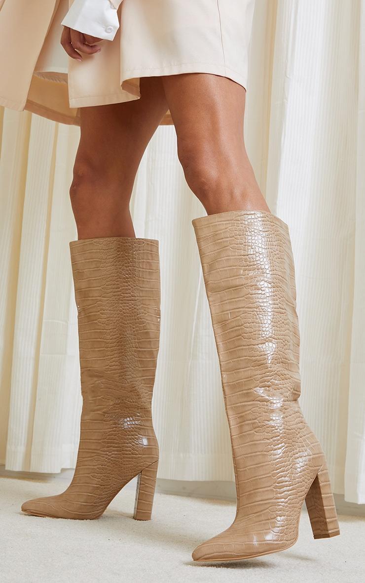 Nude Knee High Point Block Heel Boots 2