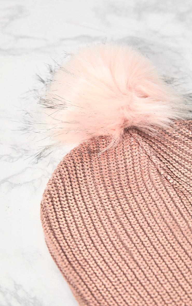 Pink Metallic Faux Fur Beanie 3
