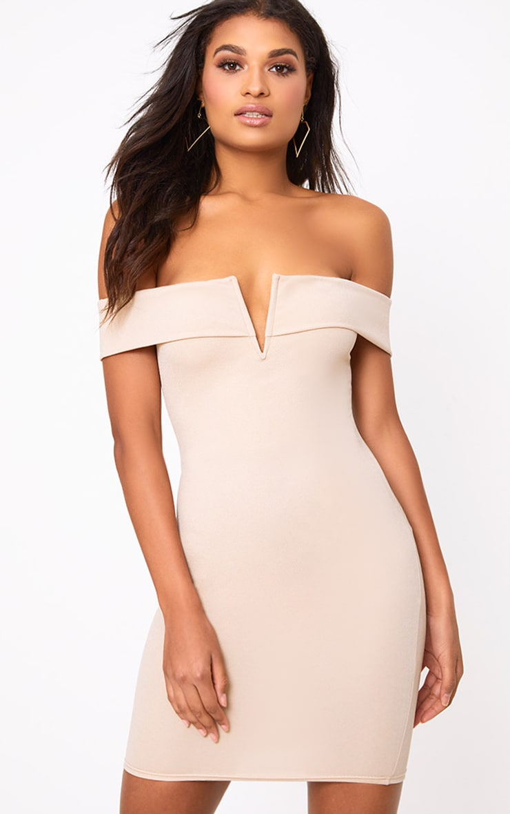Nude Bardot V Plunge Bodycon Dress 1