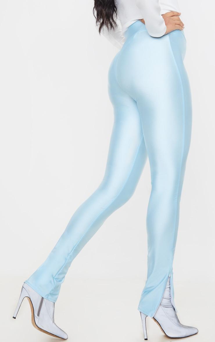Legging disco bleu à ourlet zippé 3
