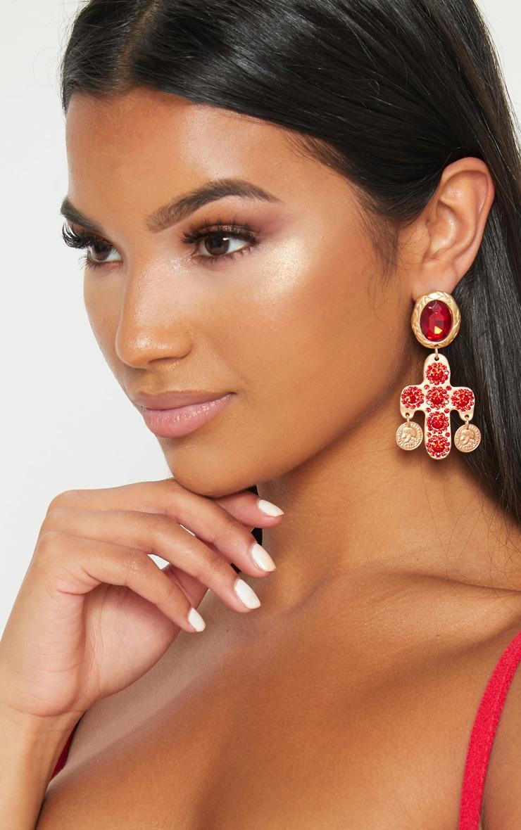 Red Diamante Large Cross Earrings 2