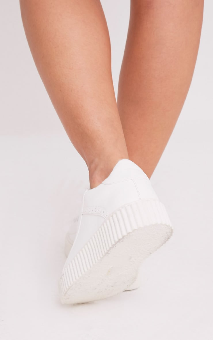 Lorena White PU Creeper Trainers 3