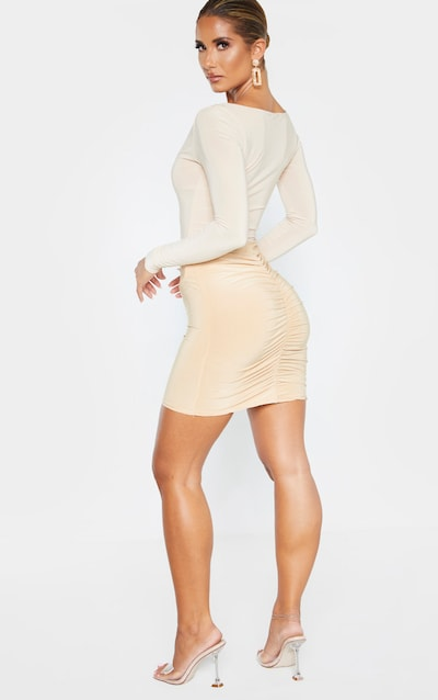 Biscuit Ruched Seam Detail Mini Skirt