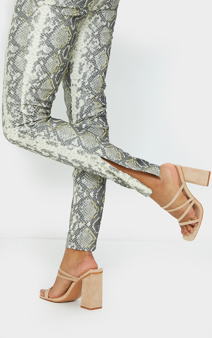 Sand Faux Suede Block Heel Strappy Mule Sandal 2