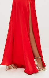 Red Extreme Split Strappy Back Maxi Dress 4