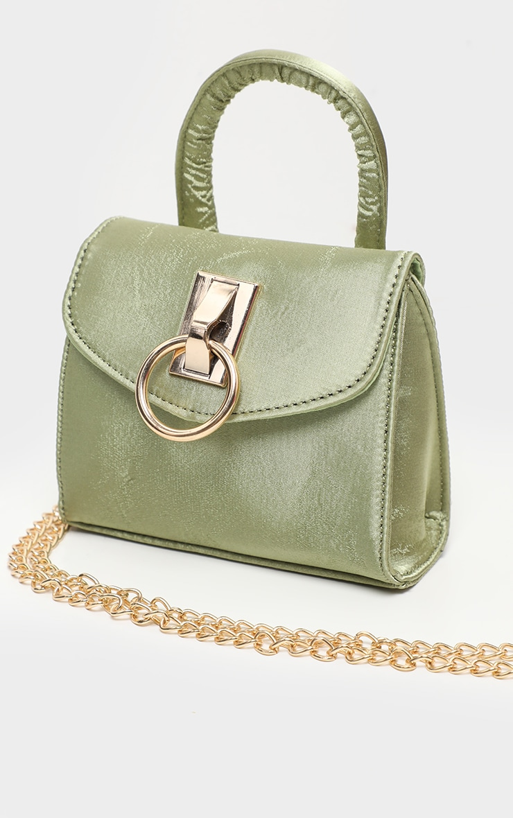 Sage Green Single Handle Chain Belt Bag 2