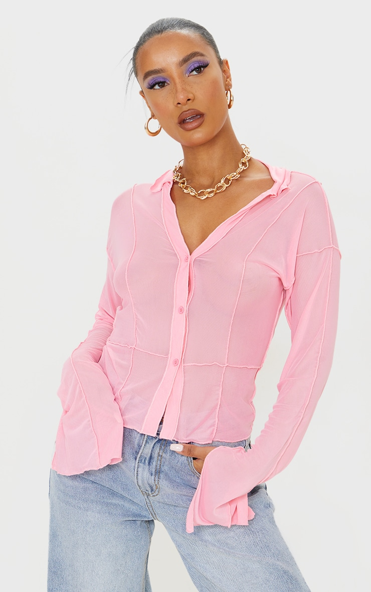 Pink Mesh Contrast Seam Long Sleeve Shirt 1