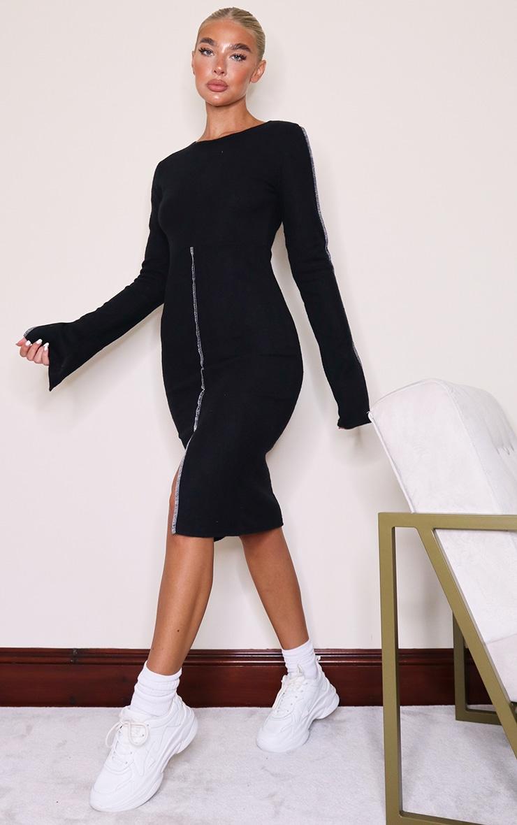 Black Brushed Rib Contrast Binding Split Front Midi Dress 3