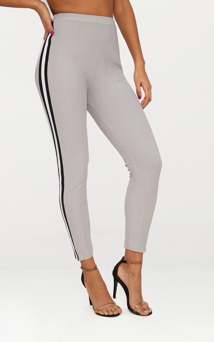 Grey Side Stripe Tape Skinny Trouser 2