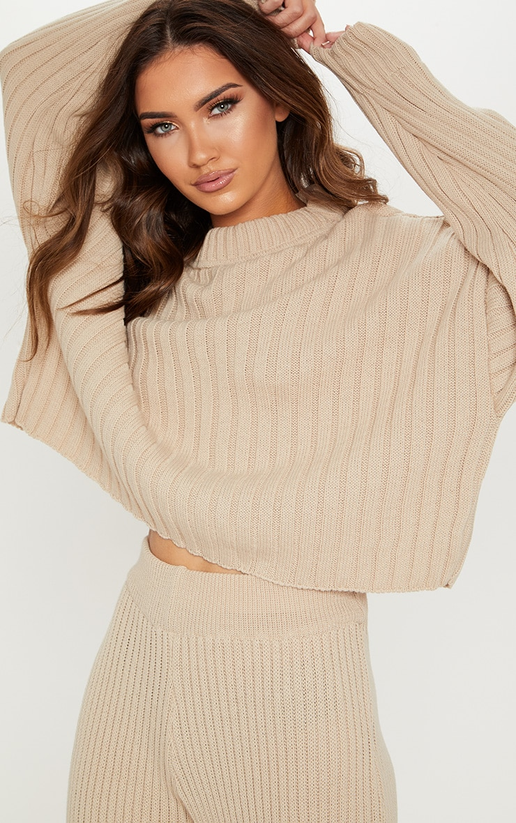 Stone Ribbed Knitted Oversized Jumper  1