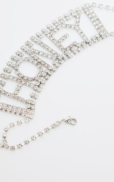 Silver Diamante Oversized Honey Slogan Choker