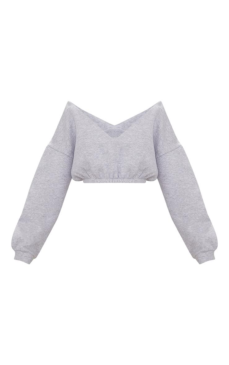 Grey Marl Crop Off Shoulder Sweater  3