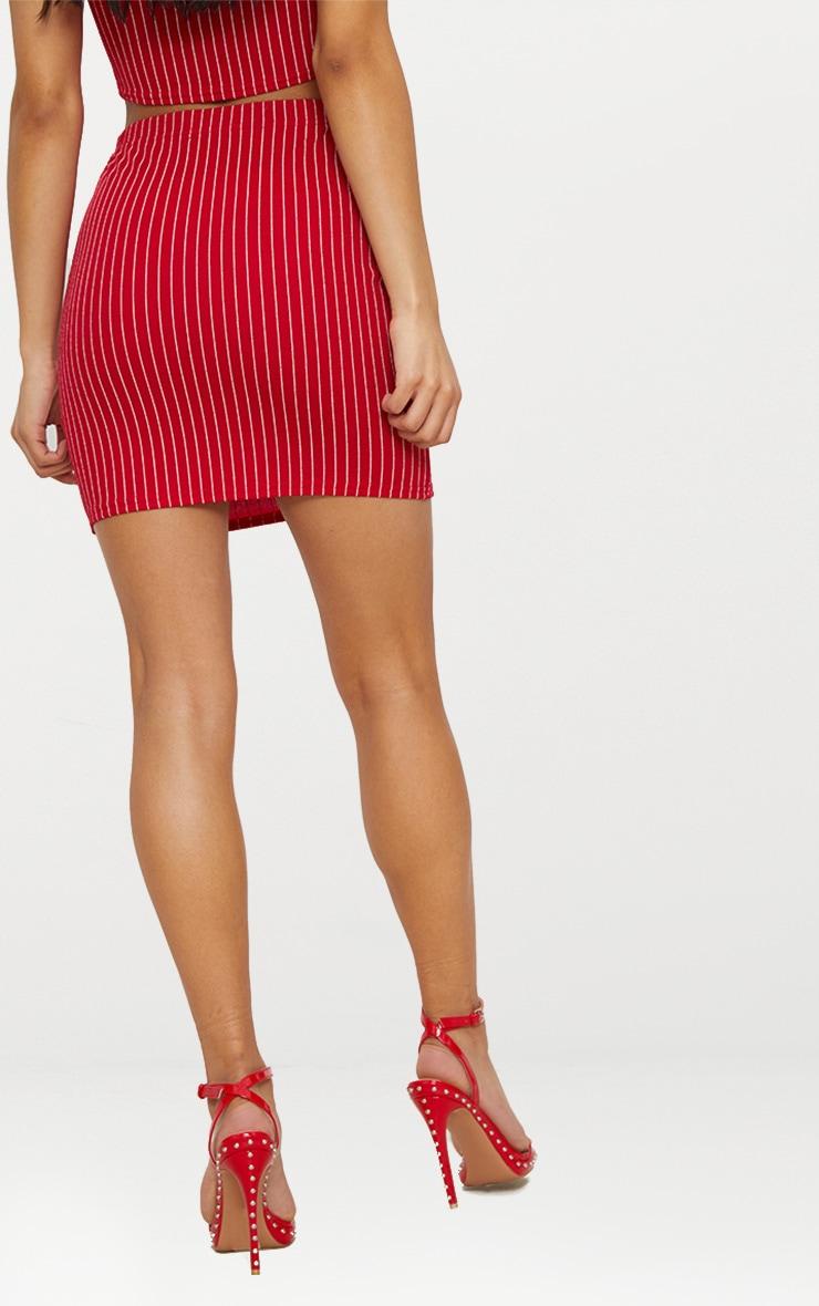 Red Pinstripe Mini Skirt 4