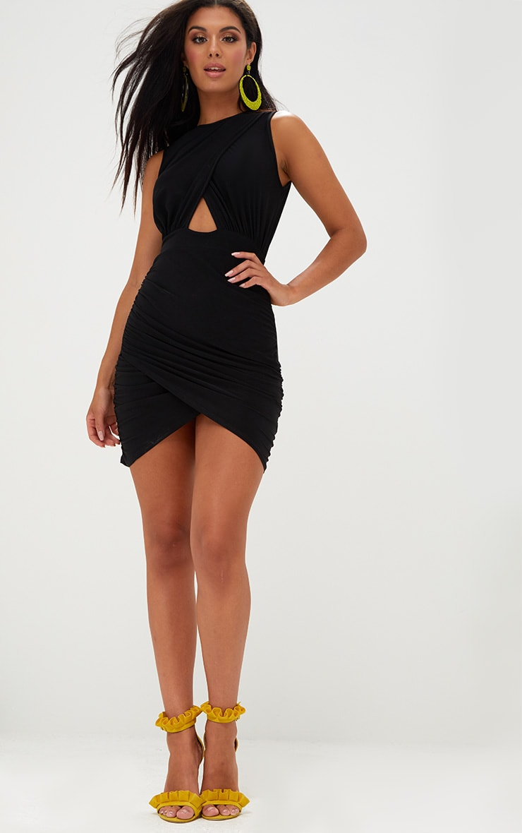 Black Cross Over Ruched Bodycon Dress 4
