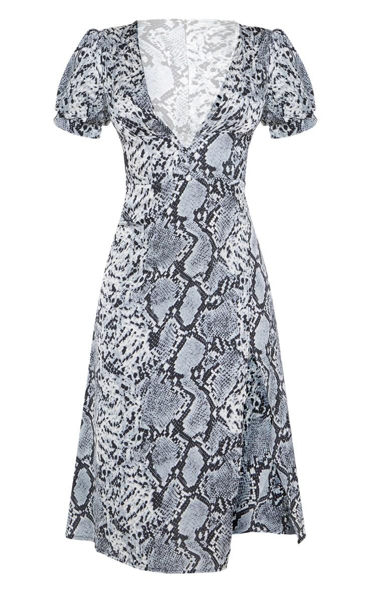 Robe mi-longue grise imprimé serpent avec partie jupe portefeuille  3