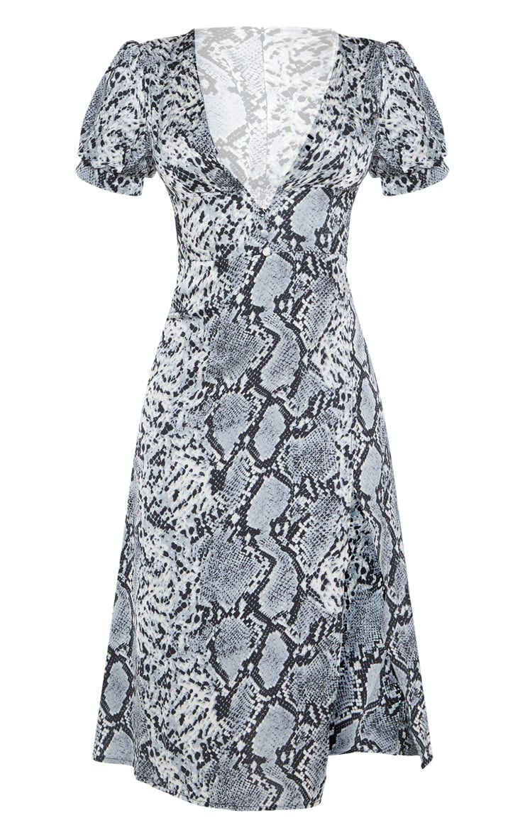 Grey Snake Print Wrap Skirt Midi Dress 3