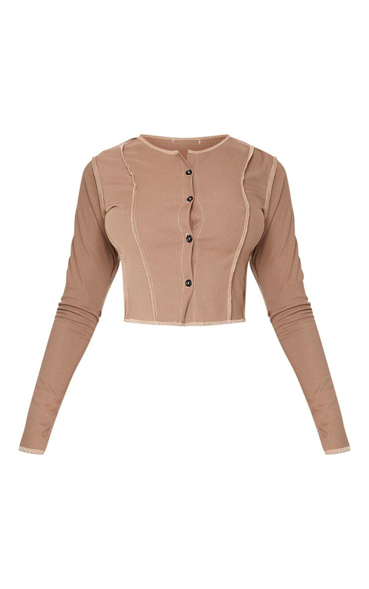 Brown Rib Contrast Splice Button Shirt 5