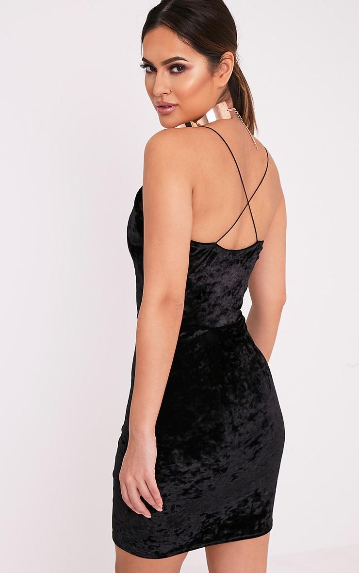 Jo Black Strappy Crushed Velvet Bodycon Dress 4