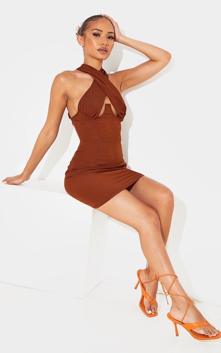 Petite Chocolate Wrap Over Underbust Bodycon Dress 1